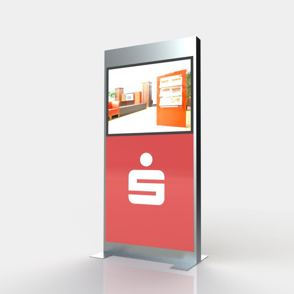 Display + Design LED Monitorstele am Beispiel Sparkasse