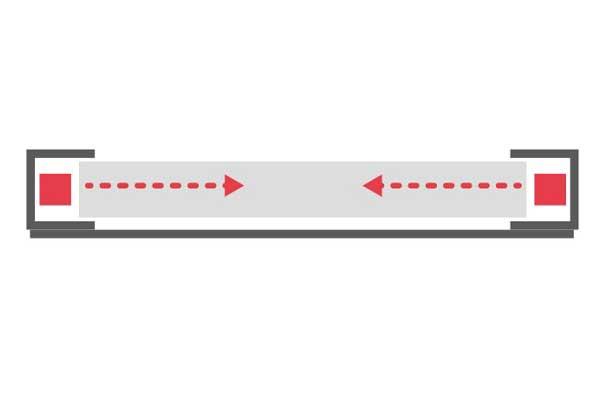 Display + Design schematische Darstellung LED Paneel mit U-Profil